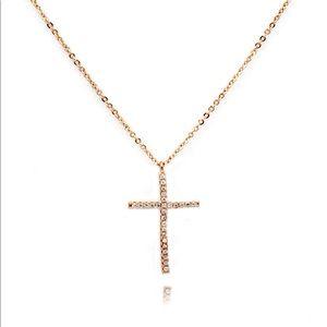 925 rose gold cross pendant necklace